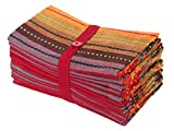 COTTON CRAFT Salsa Stripe Set of 12 Pure Cotton Oversized Dinner Napkins, 20 inch by 20 inch, Red Multicolor