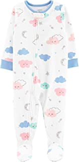 Carter`s Little Girls` 1-Piece Clouds Fleece Footie Pajamas (3T) White/Blue