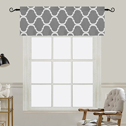 Melodieux Moroccan Fashion Room Darkening Rod Pocket Window Curtain Valance, 52 by 18 Inch, Grey (1 Panel)