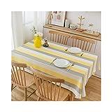 litulituhallo Mantel de lino de algodón para mesas rectangulares sólido bordado paño amarillo 135X250 cm