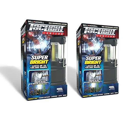 Bell + Howell Taclight Lantern Super Bright LED Bulbs, Portable Emergency Light, Waterproof and Collapsible Lamp Perfect for Power Outages Camping and Outdoor Torch (2 Pack)
