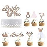 Toppers cupcake glitter oro rosa per essere topper cupcake con diamante, corona, sposa, toppers cupcake abito da sposa 3D per forniture doccia nuziale, fidanzamento, addii al nubilato Confezione da 17
