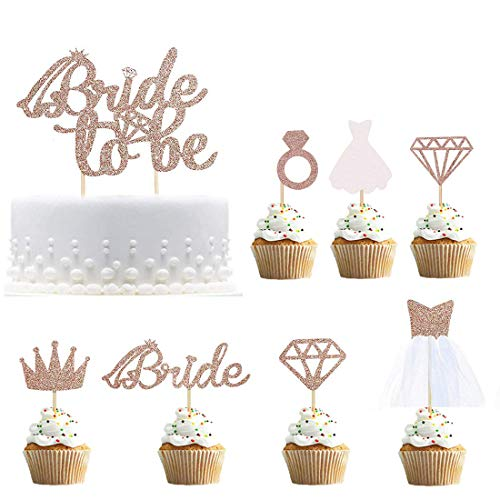 Bride To Be Cake Topper Cupcake Toppers Rose Gold Glitter with Diamond,Crown,Bride,3D Wedding Dress for Bridal Shower Supplies Engagement, Bachelorette Party Decorations Pack of 17