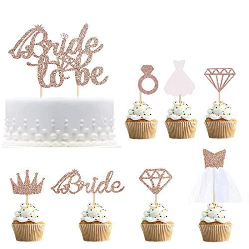 Rose Gold Glitter Bride To Be Cake Topper Cupcake con diamante, corona, novia, vestido de novia Cupcake para despedida de soltera Decoraciones para fiestas Paquete de 17
