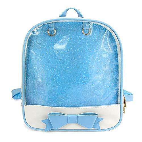 KEEPOP Ita Bag Rucksack Mädchen Süß Candy Leder Tasche Geldbörse Schultasche Sommer Strandtasche Geldbörse mit Bowknot Transparente Fenster für DIY Dekore Blau