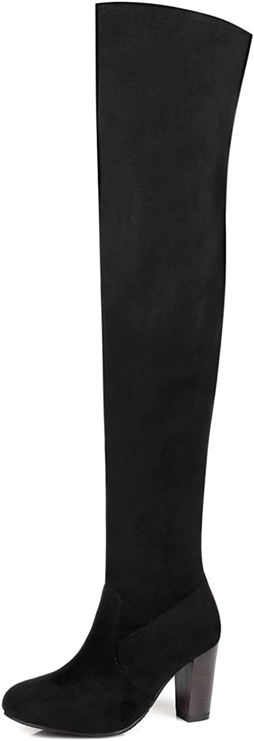 DoraTasia Fashion Suede Nubuck Thick Heel Women's Above The Knee Boots