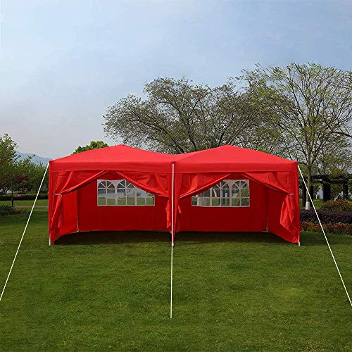Quick Tent 6 x 3m Heavy-Duty Waterproof pop-up Gazebo with Sides and Bags #170g PU Coated Fabric # Easy to Set up,Red