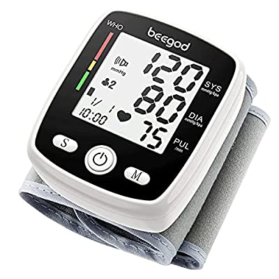 beegod Blood Pressure Monitor Automatic BP Meter 2x90 Reading Memory with LCD Display Voice USB Charging 5.3-7.7in Adjustable Cuff (WHO-B355)