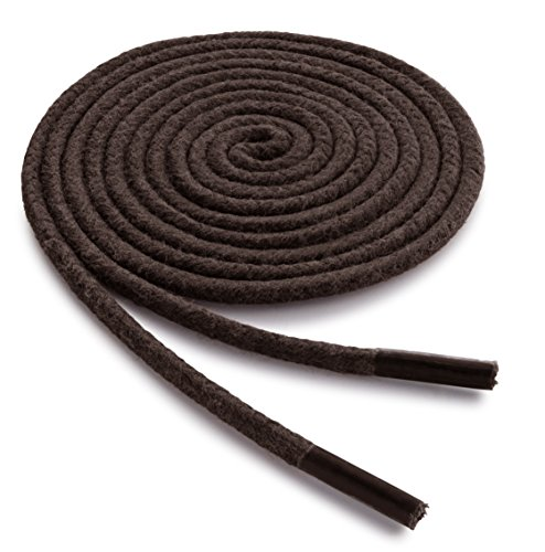 OrthoStep Waxed Dress Round 45 Inch Brown Shoelaces - Extra Durable Shoe and Boot Laces 2 Pairs Pack
