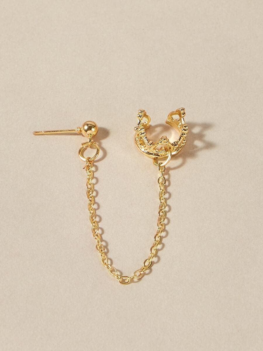 frenma Hoop Earrings Crown Ear Cuff (Color : Gold)