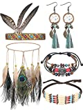 5 Pieces Native American Jewelry Set Includes Feather Headdress Faux Peacock Feather Hair Band Boho Dream Catcher Dangle Earrings Choker Necklace Bracelet for Women Girls