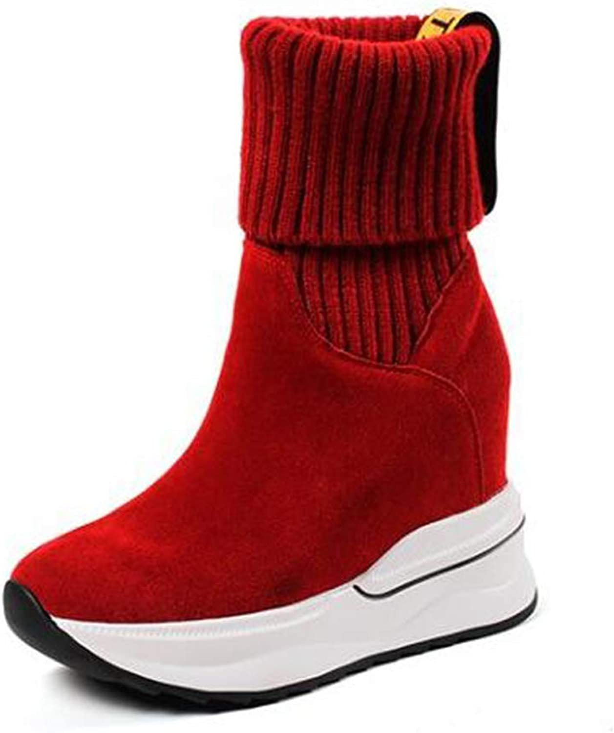 Women's Booties, Fall Winter Leather Socks shoes Round Head Comfortable Invisible Increase Fashion Ankle Boots Red Black (color   A, Size   37)