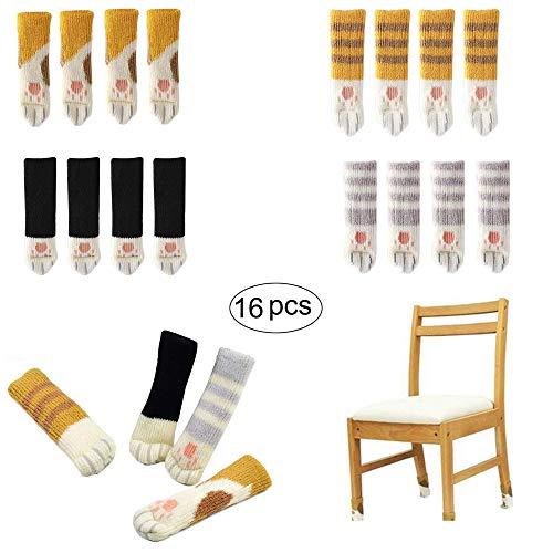16 x Stuhlbeinsocke (4 Sets), Fancy Tischbein mit Cute Cat Paws Design, Möbel Socken Anti-Rutsch Wollsocken Hocker Fessel Tabellen Cotton Caps Fußboden Schutz Stuhl Bein Floor Protector