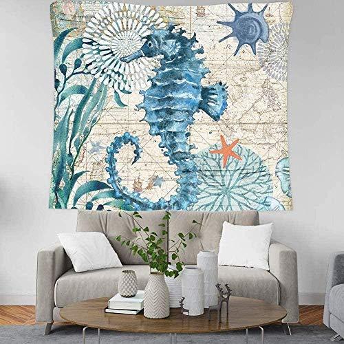 Yhjdcc Tapiz para dormitorio de esteticina del océano nórdico Tapiz de pared de tela para colgar arte bohemio Tapices decorativos para la playa, estera de yoga breve 150 cm x 200 cm