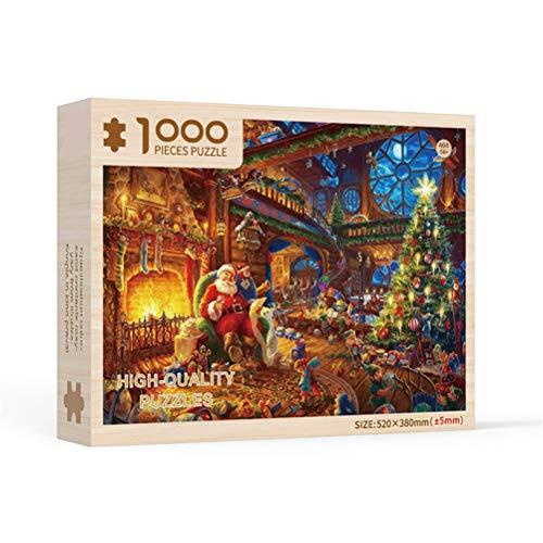 CJMING Puzzle da 1000 Pezzi, Giocattoli Puzzle con Motivo Natalizio, Giocattoli Educativi per Adulti Bambini, Regali di Natale, Decorazioni per La Casa, A