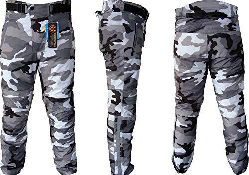 Warrior Camo Mens Moto Tousers   Camuflaje   Impermeable   Transpirable   Protección CE Biker Cordura Pantalones textiles para hombre… (W42 L32, Gris)