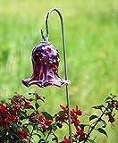 Kleiner Gartenstecker Glockenblume Malve Glas Handarbeit Gartenstele Glas-Objekt
