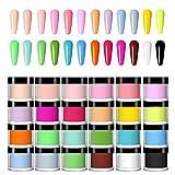 NAUXIU 24 Colors Acrylic Nail Powder Set, Colored Acrylic Powder for DIY Nails...