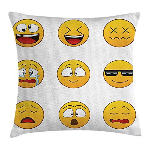 remmber me Amarillo Ciruclar Emojis Divertido Laugh Cry Be Cool Poliéster Hidden Zipper Fundas de Almohada