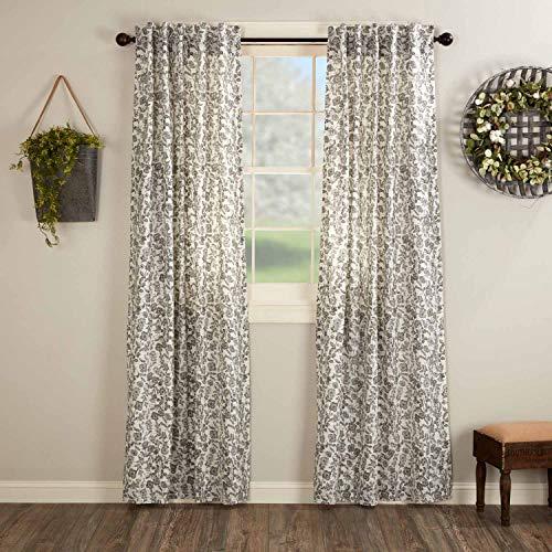 "Gray Gables Floral Panel Curtains, Set of 2, 84"" Long, Botanical Print, Farmhouse Vintage Country Cottage Window Treatment"