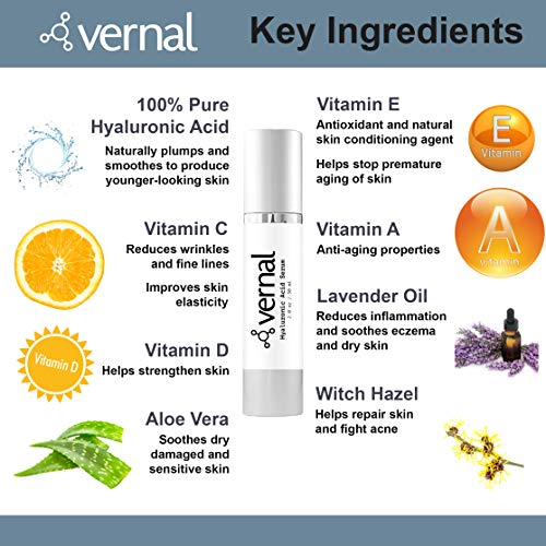 51YG7h2tTVL - Vernal's 100% Pure Hyaluronic Acid Serum – Rich With Vitamins C, A, D, E and Age-Defying Antioxidants - Best Anti Wrinkle, Anti Aging Face Serum that Lifts and Firms Skin, Made in USA