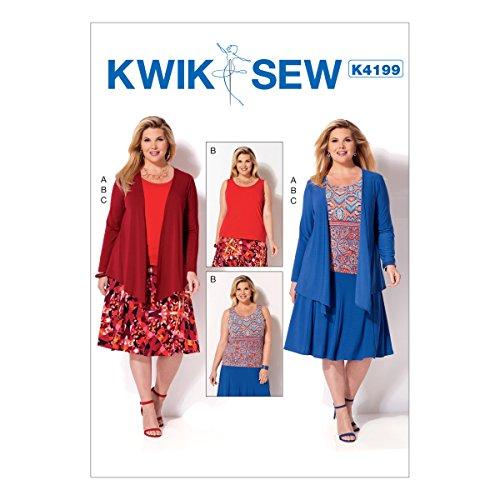 Kwik Naaipatronen K4199S, damesjas, tanktop en rok, maten 1X-4X, klok, multi/kleur, 17 x 0.5 x 22 cm