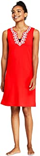 Lands' End Women's Cotton Jersey Embellished Sleeveless Swim Cover-up Dress