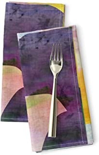Roostery Circles Linen Cotton Dinner Napkins Opala are The New Triangles Multicolored Pattern Waves Scales Abstract Geometric Geometry by Bruxamagica Set of 2 Dinner Napkins