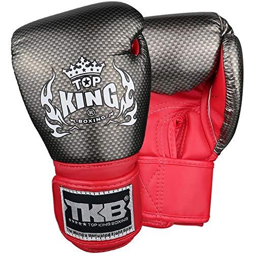 TOP King Boxing Boxhandschuhe, Kinder, Carbon, schwarz-rot Größe M