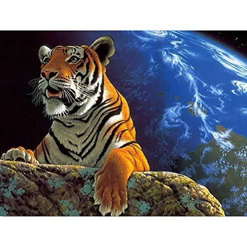 Lazodaer Kit de pintura de diamante 5D para adultos con diamantes de imitación para decoración del hogar, tigre fuera de la tierra 15.7 x 11.8 pulgadas