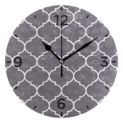 SENNSEE Reloj de pared marroquí con diseño de enrejado gris funciona con pilas, decorativo para sala de estar, cocina, dormitorio, arte redondo para decoración del hogar
