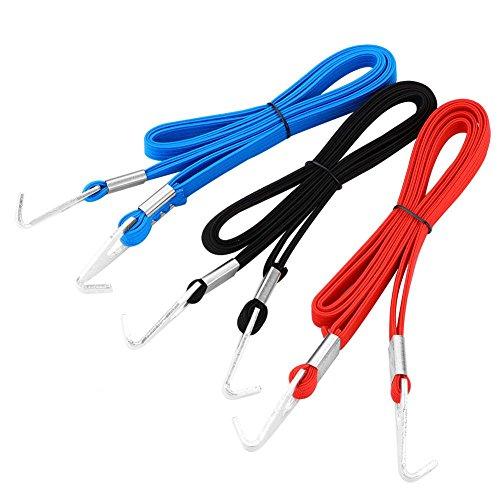 Fietstassen, spanriemen, elastisch, met vaste riem, 200 cm, met 2 haken (zwart/rood/blauw) zwart.