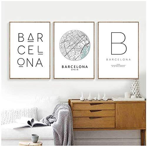 Mulmf Barcelona, City Map Poster, Barcelona Typografie, Moderne muurkunst, Canvas schilderijen, Nordic Home Decor- 40X50Cmx3 Unframed