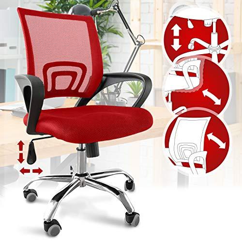 Bürostuhl - ergonomisch, mit Armlehnen und Rollen, Netzbezug und Wippfunktion, höhenverstellbar, bis 120kg belastbar, Rot - Chefsessel, Drehstuhl, Schreibtischstuhl, Computerstuhl für Home Office