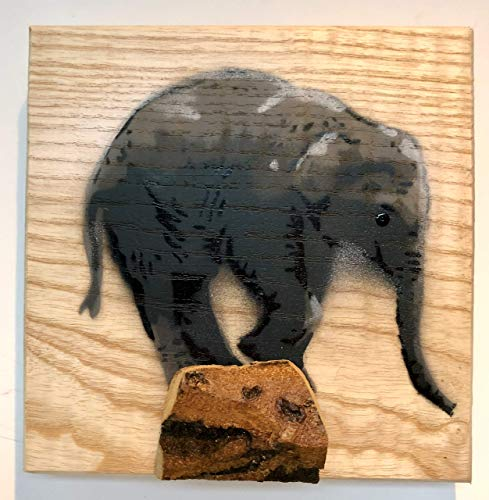 Elephant Artwork | Handmade in the UK | Stencil Art on Ash Wood | Gift for him or her | Anniversary or Birthday present | Unique Spray painted Painting 14 x 13cm with 3D wooden perch