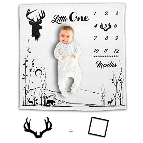 Rockabye Resources Baby Milestone Blanket - Best Photo Background with Monthly Chart for Infant's First Year - Soft and Thick Flannel Fleece Fabric for Boys and Girls - Perfect Shower Gift for New Mom