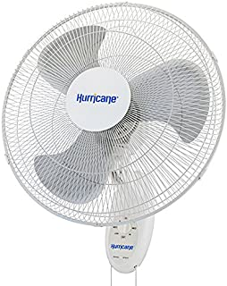 Hurricane Wall Mount Fan - 18 Inch | Supreme Series | Wall Fan with 90 Degree Oscillation, 3 Speed Settings, Adjustable Tilt - ETL Listed, White