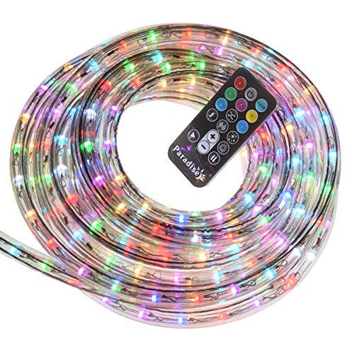 18-Foot Indoor/Outdoor LED Color Changing Rope Light with Remote, with 4 Light Motion Options, 1-Pack, White/Multi in Clear PVC