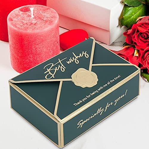 Ichiias 50 Uds Caja de Dulces con Forma de sobre única Caja de Regalo de Papel Soporte para Dulces Accesorios de Fiesta de Boda decoración(Verde)