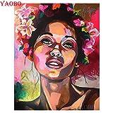 XCxCN 5D-DIY-Diamond Pintura Diamante Redondo Mujer Africana Pared niños Diamante Pintura Rhinestone Bordado artesanías para el hogar decoración de la Pared sin marco-40x50cm
