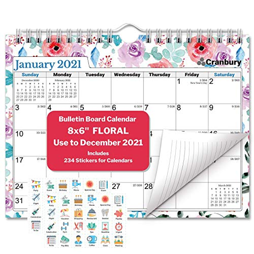 CRANBURY Small Wall Calendar 2021 - (Floral), Cute 8 x 6' 2021 Mini Wall Calendar, Non-Glossy Paper, Spiral Bound with Hanging Hook, Bulletin Board Calandar, Fun Planner Stickers Included