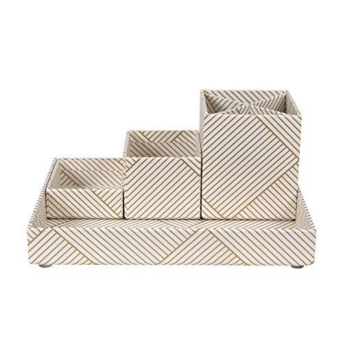 Bigso Box of Sweden Schreibtisch Organizer für Stifte, Büroklammern, Haftnotizen usw. – Sortierkasten mit 4 Fächern – Ordnungssystem aus Faserplatte und Papier (Gold/Weiß)