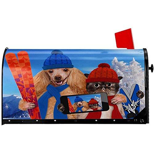 Post Box Cover,Winter Lustige Katze Hunde Selfie Mit Skateboard Mailbox Covers Charming Home Mailbox Covers Für Home Garden Decor 52.6x64.7cm