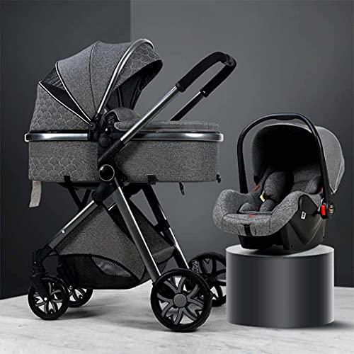 YZPTD Kinderwagen, Luxus-Reisesystem, kompakte Kinderwagen, 3 in 1 Kinderwagenwagen, klappbarer Kinderwagen mit hohem Aufbewahrungskorb und Mommy-Tasche (Farbe : Grau)