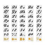 40 piezas de plantillas de letras de arte plantillas de pintura de alfabeto de plástico reutilizables plantillas de signos de números de alfabeto lavables