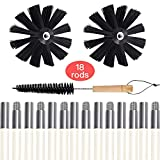 Dryer Vent Cleaner kit, Akamino 24 Feet Dryer Vent Cleaner Brush, Two Synthetic Clean Brush Heads, Includes 18 Flexible Rods, 1 Dryer lint Vent Trap Chimney Cleaners