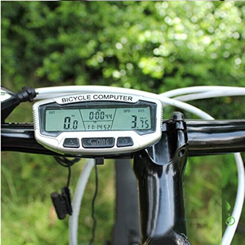 Ecsem 28-Function Bicycle computer waterproof Bike Odometer Speedometer, Four Windows LCD Displays with thermometer and LCD backlight in blue