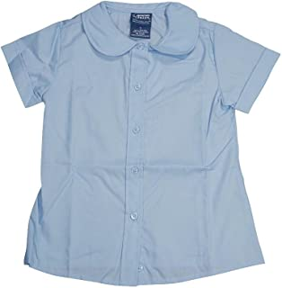 Big Girls' Short Sleeve Peter Pan Blouse, Light Blue 33151-20
