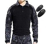 H Welt EU Camiseta táctica militar de caza de manga larga con coderas (BK, XXL)