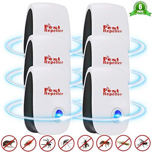 Repelente Ultrasónico, BESTZY 6Pack Plagas Control Interiores Repelente Ultrasónico de Plagas, Electrónico...